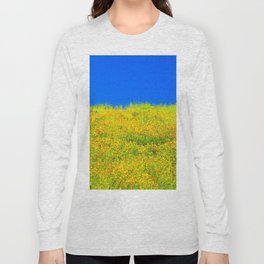 yellow poppy flower field with green leaf and clear blue sky Long Sleeve T-shirt
