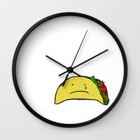 taco Wall Clocks featuring Sad Taco by Leah Flores
