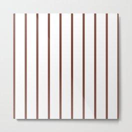 Vertical Lines (Maroon & White Pattern) Metal Print