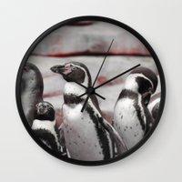 penguins Wall Clocks featuring penguins by MehrFarbeimLeben
