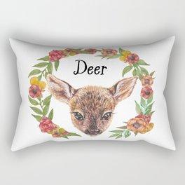 Watercolour Woodland Deer Face Rectangular Pillow