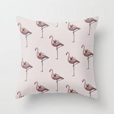 Flamingo and French Bulldog Throw Pillow
