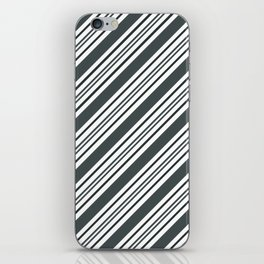 PPG Night Watch Pewter Green and Dark Green Thick and Thin Angled Lines - Stripes iPhone Skin