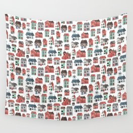 Watercolour Houses Wall Tapestry