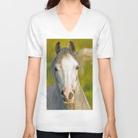 pony V-neck T-shirts featuring Welsh Pony  by Doug McRae