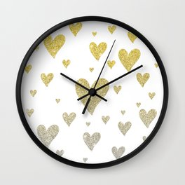 Glitter Hearts Wall Clock