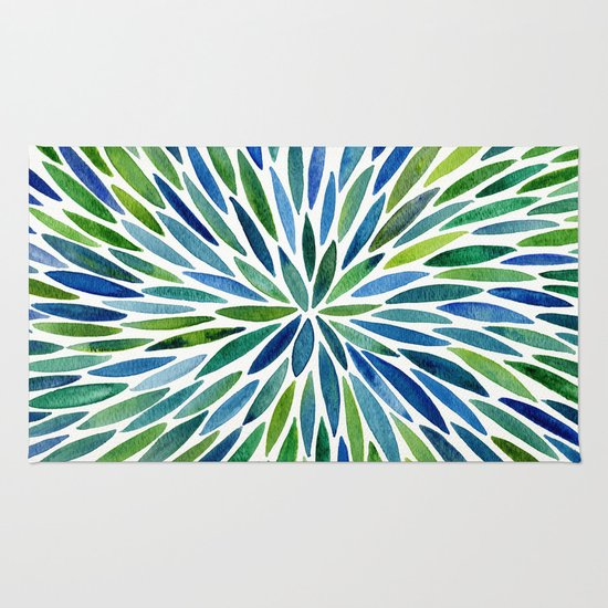 Watercolor Burst Blue Amp Green Rug By Cat Coquillette