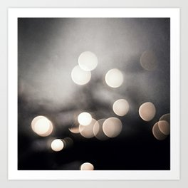 Black and White Bokeh Lights Photography, Sparkle Light Art, Neutral Sparkly Photo Art Print