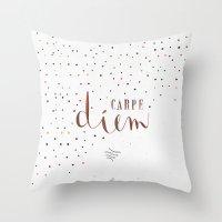 carpe diem Throw Pillows featuring Carpe Diem by Earthlightened