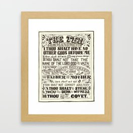 hand lettered in ink black and white10 commandments Framed Art Print