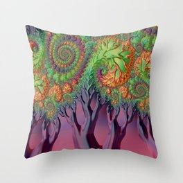 LSD - Psychedelic Trees - Nature - Fractal - Manafold Art Throw Pillow