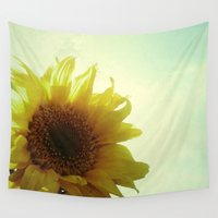 sunflower Wall Tapestries featuring Sunflower by Cassia Beck