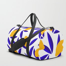 Blue and yellow Lemon Summery Pattern Duffle Bag