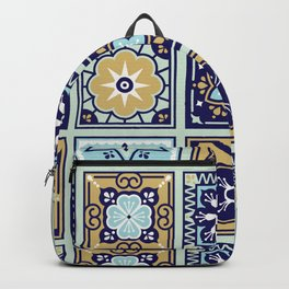 Talavera Mexican Tile – Mint & Navy Palette Backpack
