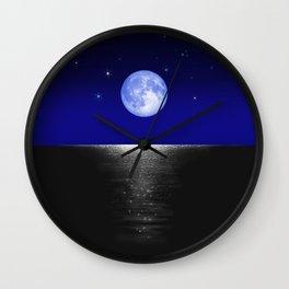 Morning Blue Moon on the Sea Wall Clock