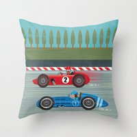 racing Throw Pillows featuring Retro Racing by we are 3 fish