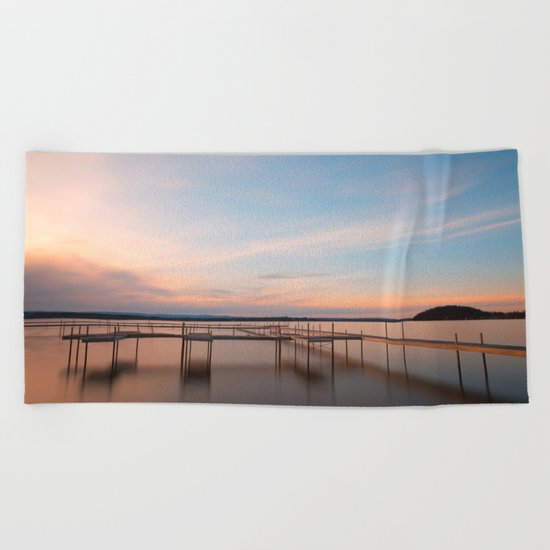 Saratoga Lake Sunset Beach Towel