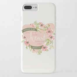 """""""All Your Heart"""" Floral Bible Verse Print iPhone Case"""