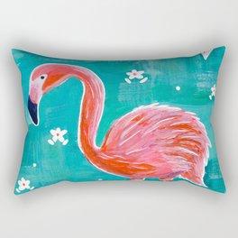 Neon Pink Tropical Flamingo Rectangular Pillow