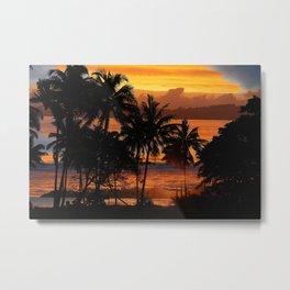 Sunset palms in blue tones Metal Print