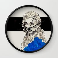 mother of dragons Wall Clocks featuring Mother Of Dragons by Fatma Sahem