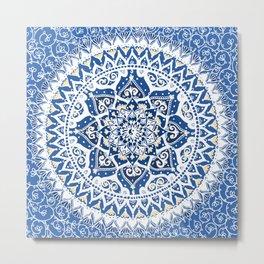 Yin Yang Mandala Pattern (Blue & Yellow) Metal Print