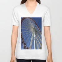 ferris wheel V-neck T-shirts featuring Ferris Wheel by Blue Lightning Creative