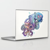 rainbow Laptop & iPad Skins featuring octopus  by Laura Graves
