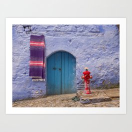 Chefchaouen Morocco Fire Hydrant and Door Art Print