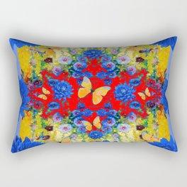 VERY BLUE  FLOWERS YELLOW BUTTERFLIES PATTERN ART Rectangular Pillow