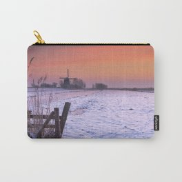 Typical Dutch landscape with windmill in winter at sunrise Carry-All Pouch