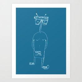 Keyboard man Art Print