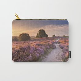 I - Path through blooming heather at sunrise, Posbank, The Netherlands Carry-All Pouch
