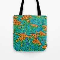 weed Tote Bags featuring Weed Patch by Anne Millbrooke