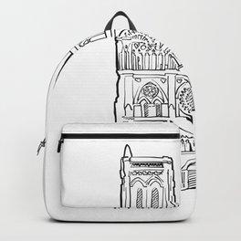 Notre Dame facade illustration. Backpack