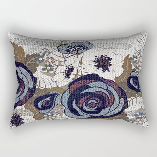 floral band and fabric effect Rectangular Pillow