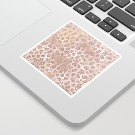 Rosegold Blush Leopard Glitter   Sticker