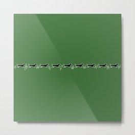 Dachshund for Life (White / Black / Green) Metal Print