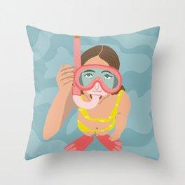 Scuba Girl Throw Pillow