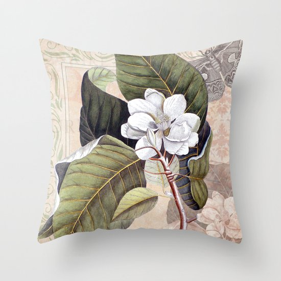Vintage White Magnolia Throw Pillow by Antique Images Society6