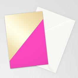 Modern hot pink & gold color block Stationery Cards