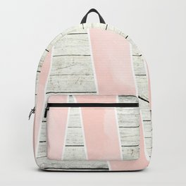 Modern blush pink watercolor triangles stripe wood Backpack