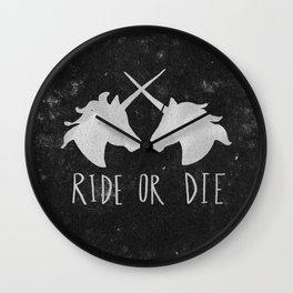 Ride or Die Unicorn Magic Wall Clock
