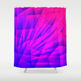 Bright fragments of crystals on irregularly shaped blue and violet triangles. Shower Curtain