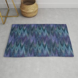 Blue Abstract Feather Pattern Rug