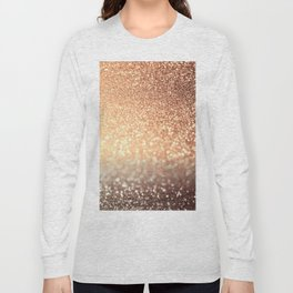 Cozy Copper Espresso Brown Ombre Autumnal Mermaid Glitter Long Sleeve T-shirt