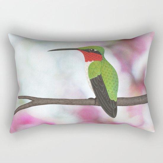ruby throated hummingbird - male on pink bokeh Rectangular Pillow