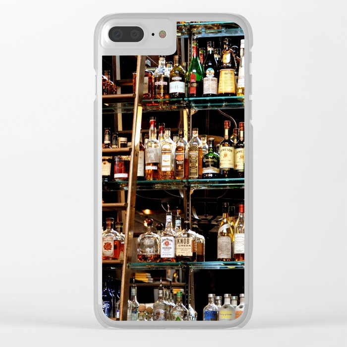 BOTTLES ALL IN A ROW Clear iPhone Case