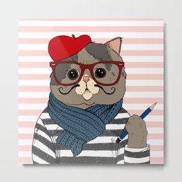 French Cat Metal Print