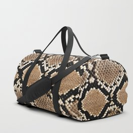 Pastel brown black white snakeskin animal pattern Duffle Bag